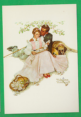 Norman Rockwell continental postcard/ lovers/ 4 ages of love/daisies