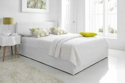 6ft Super King Size White Faux Leather Ottoman Storage Bed Frame Sale