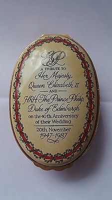 Halcyon Days Enamel Box~ 40th Wedding Anniversary Of The Queen & Prince Philip