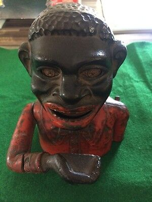 Vintage Cast Iron Moneybox 'Coin Eating Jolly' Fully Working Very Heavy GC