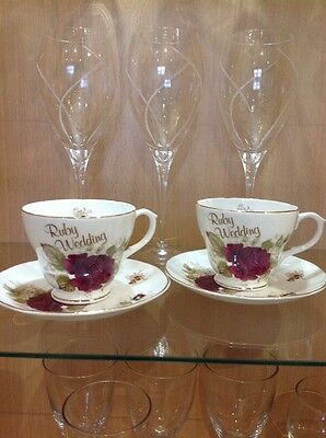 FENTON CHINA CO. 'Ruby Wedding Cups & Saucers' Excellent Condition