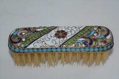 Small Antique Russian 84 Silver and Enamel Brush