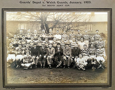 RUGBY; 1923 VINTAGE PHOTO  GUARDS DEPOT V WELSH GUARDS .inc  W.C.POWELL INTER'L
