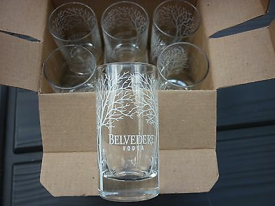 Set of 6 Belvedere Vodka Satin Tree Double Shot Glass SET Clear  NEW IN BOX NIB