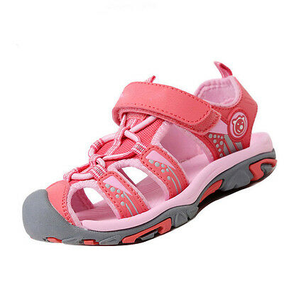 Unisex Kids Boys Girls Closed Toe Sport Sandals Soft Leather Beach Flat Shoes