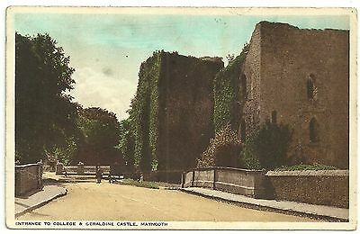 Ireland Co Kildare   postcard Maynooth Entrance to college and Geraldine Castle