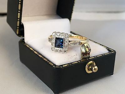 LOVELY 18ct Yellow Gold and Platinum Art Deco Sapphire and Diamond Ring SIZE P