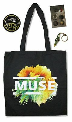 Muse Tote Bag, Button Set, Keychain + Patch Logo 4 Piece Gift Set New Official