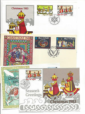 Isle of Man 1981 Christmas FDC 1982 Card 1983 Card and FDC Lot of 4