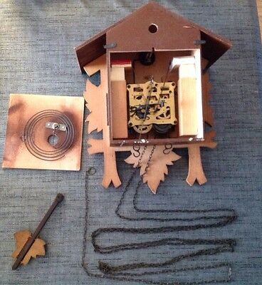 Antique Black Forest Cuckoo Clock For Restoration Or Spare Parts 30x24x14cm.