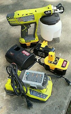Ryobi One+ 18V Cordless Power Paint Sprayer/4 Batteries/2 Chargers