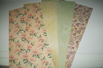 "4 Sheets Cardboard ""romantic Summer "" /2 Sided 30 X 15 Cm (A513) New New"