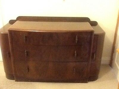 ART DECO 1930's WALNUT VENEER DRESSING TABLE & ORIGINAL MIRROR.