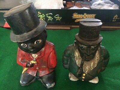 2 Vintage Cast Iron Moneyboxes with top hats one with a pipe VERY HEAVY RARE