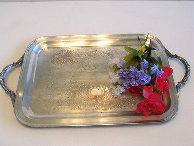 Vintage Silver on Copper Oval Serving Tray Platter, Castle Silver 548, Victorian