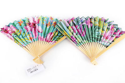 Hand Held Fan For Ladies Tropical Fan Bamboo Summer Accessory Natural Pretty x 1