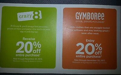 20% Off Gymboree & Crazy 8 Coupons (Expire 8/1/17)