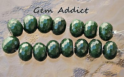 """Dark Green Serpentine Faceted Rondelle Beads 16x11mm 6.75"""" Strand 64g/320cts"""