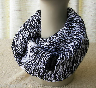 BLACK & WHITE Infinity Scarf Chunky COWL Wrap Boutique HAND Knit USA in Acrylic