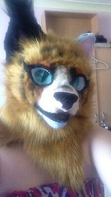 red ginger stripe stripy cat fursuit fur suit head