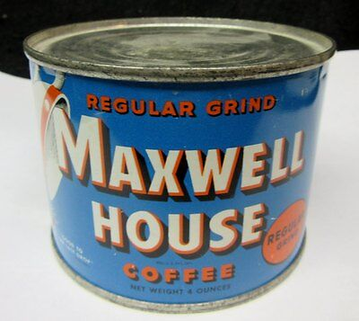 Scarce OLD MAXWELL HOUSE COFFEE TIN,  4 OUNCE size, SEALED, EMPTY TIN  Display ?
