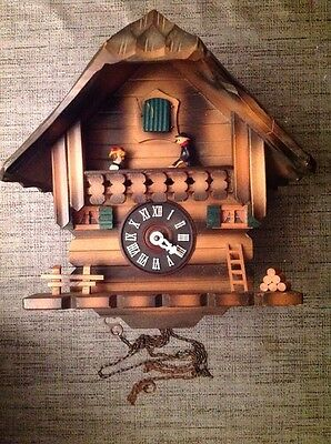 Vintage Black Forest Cuckoo Clock See Saw Automaton For Restoration  23x23x16cm.