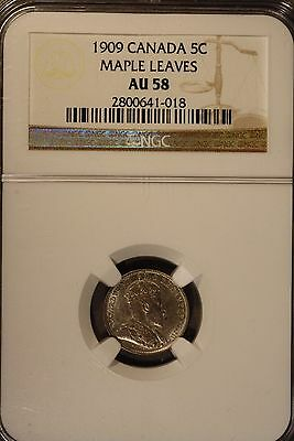 1909 Canada 5 Cents Silver Maple Leaves NGC AU 58     ** FREE U.S. SHIPPING **