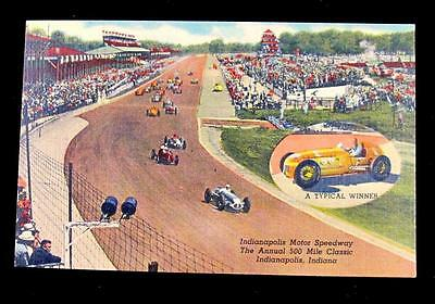 Rare Linen Indianapolis Motor Speedway postcard from 1950's during Indy 500 race