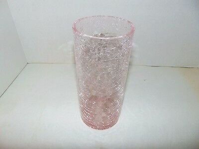 "Pink Crackle Glass Vase 8"" Tall Cylinder T58"