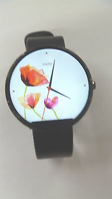 Moto 360 Smart Watch - Series 1 - Black Body and Leather Band
