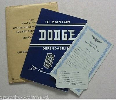 1946 Dodge Owner's Manual, Service Policy, ID Card -Near Mint to Mint