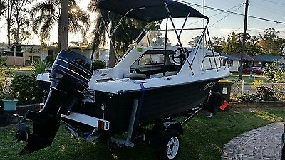 Half cabin Runabout Boat with 80 Hp Mercury with Lots Of Extras
