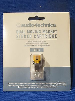 New Audio Technica At91 Cartridge & Stylus For Phono Turntable Display Card