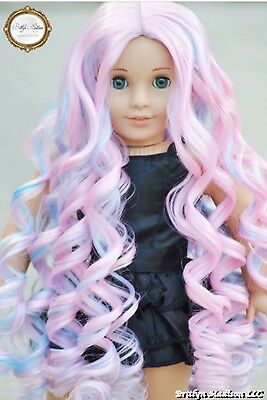 10-11 DOLL Wig For 18 Inch American Girl Cotton Candy Curls - Custom HEAT SAFE