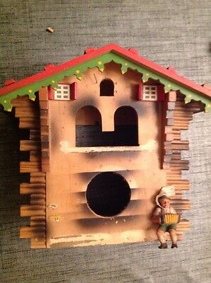 Vintage Black Forest Cuckoo Clock Musical Automaton Case To Restore 23x27x15cm.