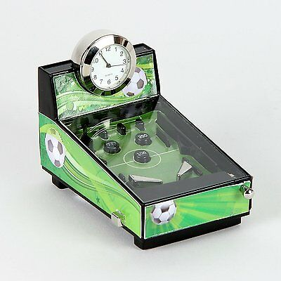 Football Theme Pinball Machine Miniature Clock In Shiny Chrome, Green & Black -