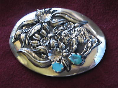Vintage Silver & Turquoise Buffalo Native Old Pawn Belt Buckle