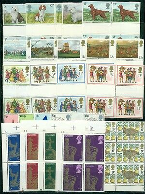 GB: 50+ BLOCKS & 7 PAIRS; 1980's Commemoratives Lots; Many w/Gutters