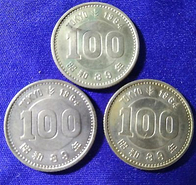 Japan 1964 Olympic Games 100 Yen Silver Coin Lot Of 3