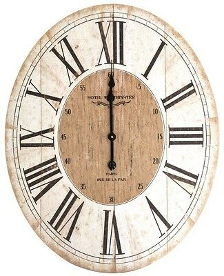 LARGE White Washed Wood Oval Wall Clock Vintage French Style Roman Numerals NEW