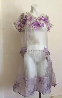 Vintage 1920s Cotton Gauze Chrysanthemum Embroidery Dress Sheer Lavender Fairy