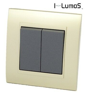 I LumoS AS Gold Plastic Arc & Grey 13A UK Single/Double Sockets & Light Switches