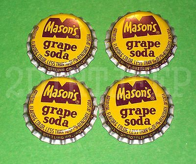 4 MASON's GRAPE FLAVOR SODA ROOT BEER VINTAGE DRINK POP CORK UNUSED BOTTLE CAPS