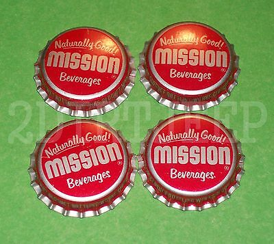 4 Mission Beverages Assorted Flavored Soda Old Drink Pop Cork Unused Bottle Caps