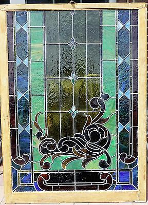 4' x 3 Antique Church Stained Glass Leaded  Window Superb Condition Cobalt WOW