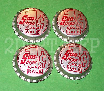 4 SUN DROP COLA 1c CENT SALE FLAVORED SODA OLD DRINK POP CORK UNUSED BOTTLE CAPS