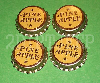 4 TWO STAR PINE APPLE FLAVORED SODA 1930's OLD DRINK POP CORK UNUSED BOTTLE CAPS