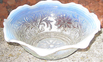 Very Rare Experimental Opalescent Sandwich Crystal Bowl