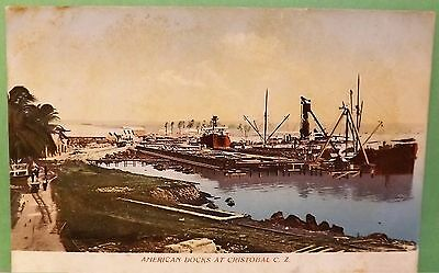 American Docks at Cristobal, 1900s Photochrom SM Prague PANAMA Canal PC