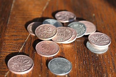 VINTAGE CANADIAN COIN Lot of 15, PENNIES and DIMES from early 1900's
